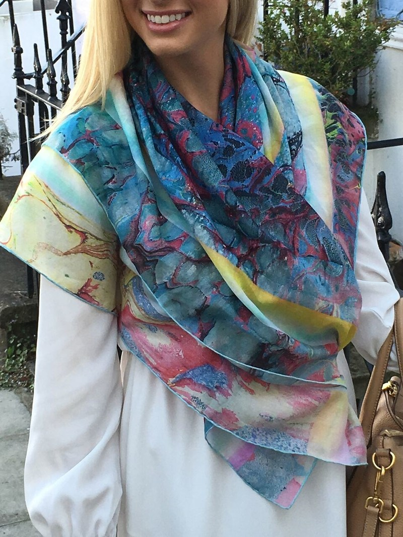 "100% Silk Twill Scarf Measures 34"" x 34"""