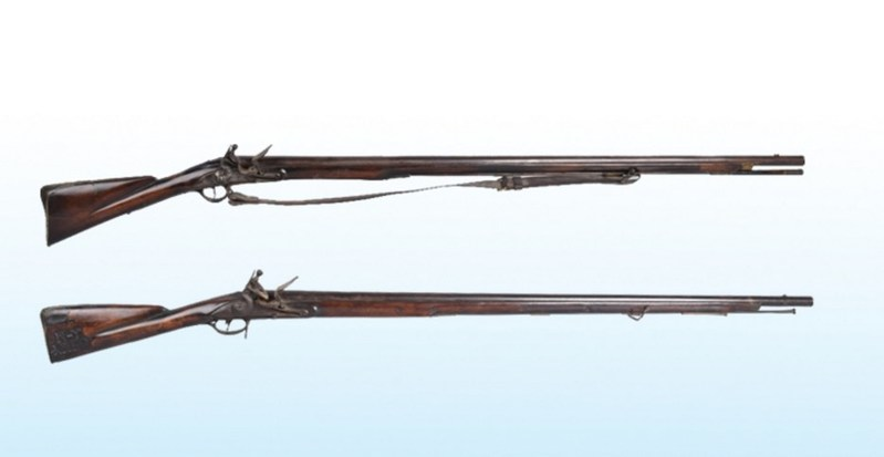 Top: 1746 Jordan 1st Model Brown Bess musket, X Regiment, estimate $10,000-$15,000; bottom: 18th-century Wilson 'City of New York' musket, with report from Gen. Sullivan explaining accidental discharge of bullet from a gun was reason for repair to buttstock, estimate $15,000-$25,000