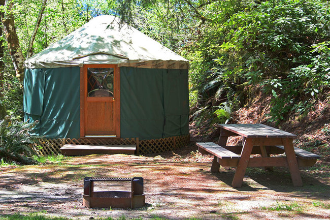 """The Yurts at Loon Lake Lodge are set in a gorgeous Oregon Coast Range setting, with plenty of activities to enjoy nearby. These are an affordable """"glamping"""" option and are great for camping but are not as rustic as tents. They all come with a counter top refrigerator, microwave, coffee pot and bed linens."""