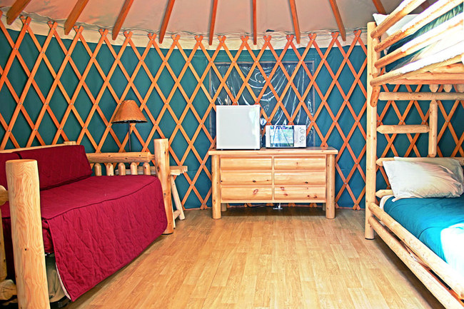 """The Yurts at Loon Lake Lodge in the Oregon Coast Range are an affordable """"glamping"""" option, with the fun of camping, but not as rustic as a tent. Each yurt is furnished with a trundle bed for your daytime or nighttime enjoyment and it can be made up as a sofa, two twins or pushed together to sleep side-by-side and a twin bunk bed. All Yurts include a counter top refrigerator, microwave, coffee pot and bed linens."""