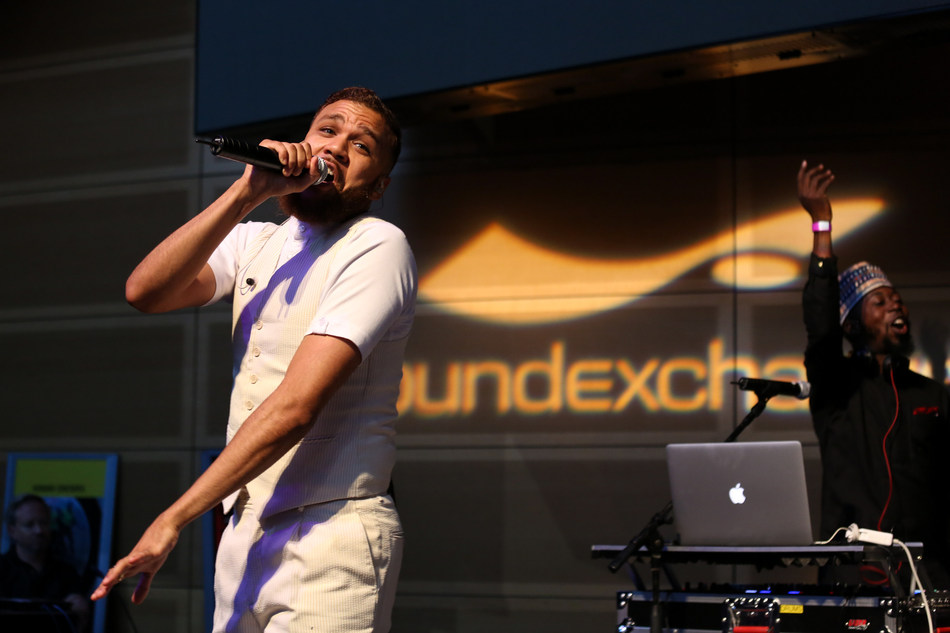 Jidenna performs at the SoundExchange Summer Music Celebration.