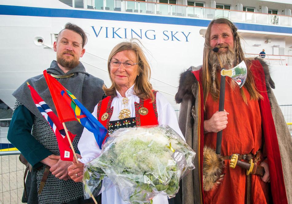 "Marit Barstad, sister of Viking Chairman Torstein Hagen, and godmother to Viking Sky – with ""Vikings"" Geir Røevik (right) and Kristoffer Jorgensen (left). Visit www.vikingruises.com for more information."