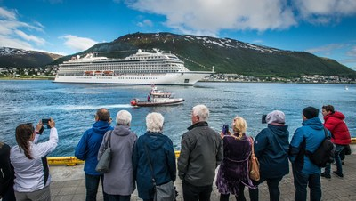 Residents of Tromsø, Norway as Viking Sky departs after her christening. Visit www.vikingruises.com for more information.