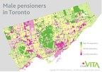 Club Vita Canada findings: Club Vita Canada's average male pensioner life expectancy by dissemination area (i.e., representing populations of about 400 to 700). (CNW Group/Club Vita Canada Inc.)