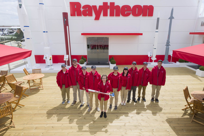 International Rocketry Challenge winners Festus High School outside the Raytheon Chalet at the International Paris Air Show. (Photo courtesy of the Raytheon Company)