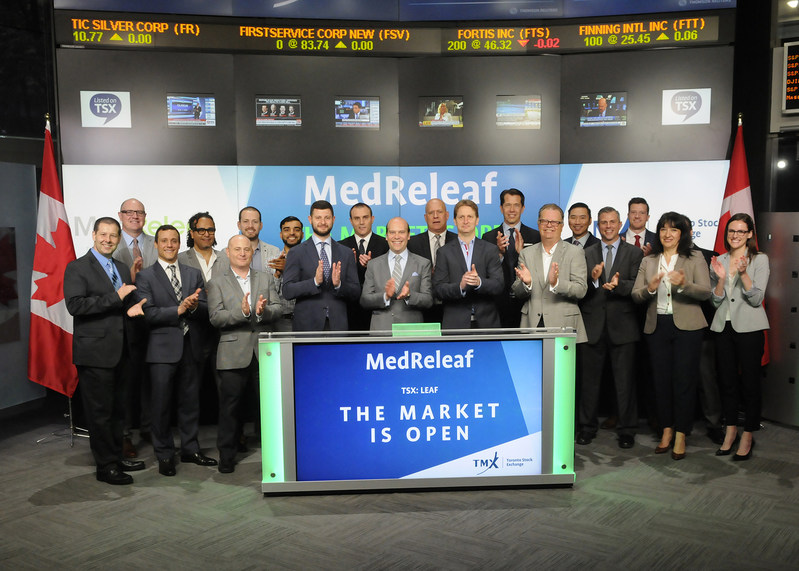 Neil Closner, CEO, MedReleaf Corp. (LEAF), joined Richard Rohan, VP, Global Sales, Equity Capital Markets, Toronto Stock Exchange, to open the market. MedReleaf is licensed by Health Canada under the Access to Cannabis for Medical Purposes Regulations (ACMPR), and an ICH-GMP and ISO 9001 certified medical cannabis producer. Sourced from around the world and operating in one of two facilities in Ontario, MedReleaf delivers a variety of products to patients seeking safe, consistent and effective medical cannabis. MedReleaf Corp. commenced trading on Toronto Stock Exchange on June 7, 2017. (CNW Group/TMX Group Limited)