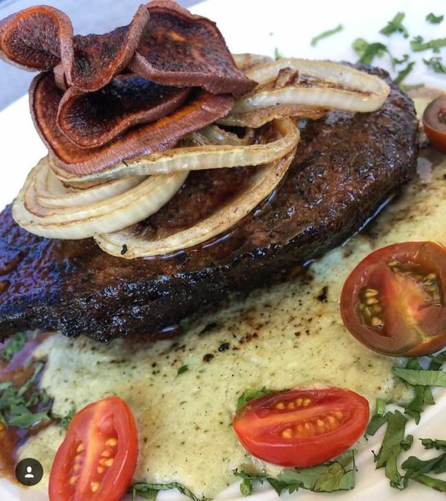 chile ancho rubbed/cilantro butter/roasted corn puree/charro bean