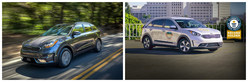 The 2018 Kia Niro Plug-In Hybrid, left, will be on dealer lots later in 2017 while the eco-friendly 2017 Kia Niro hybrid crossover, right, is already available at Friendly Kia of New Port Richey.