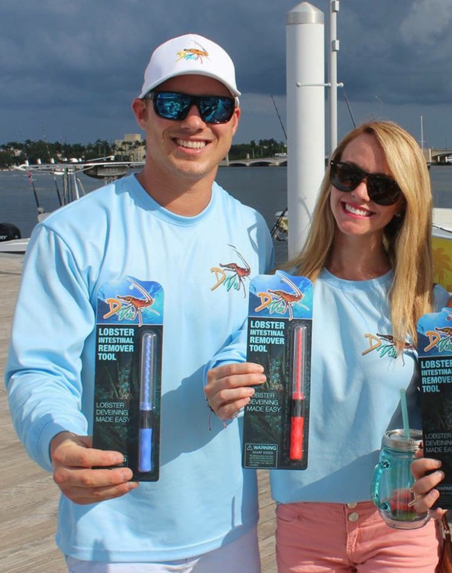 Team D Vein - Scott Mobley and Amada Edelson (Scott's Girlfriend) proudly displaying their new Lobster Preparation Tool.