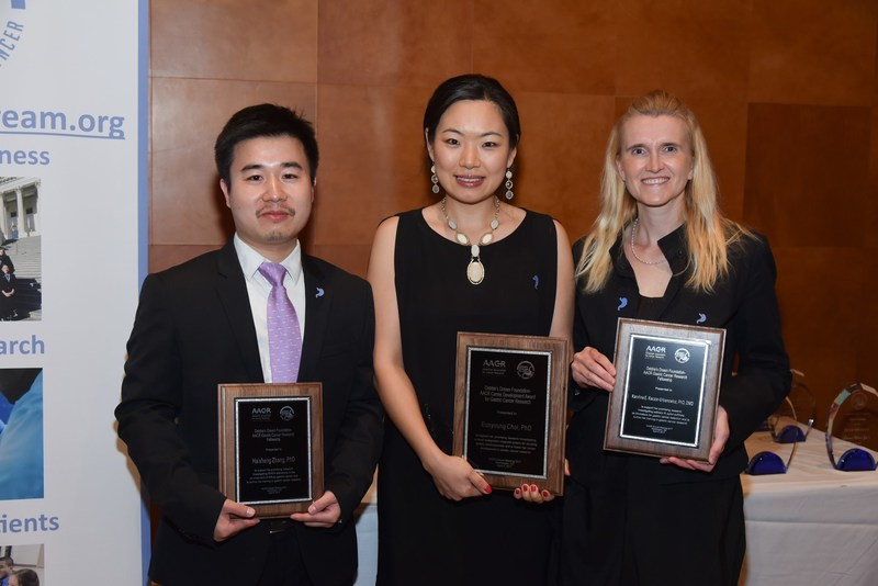 Photo Two: DDF 2017 Grant Recipients Haisheng Zhang, PhD of Dana-Farber Cancer Institute; Eunyoung Choi, PhD of Vanderbilt University Medical Center; and Karolina Kaczor-Urbanowicz, PhD, DMD of University of California