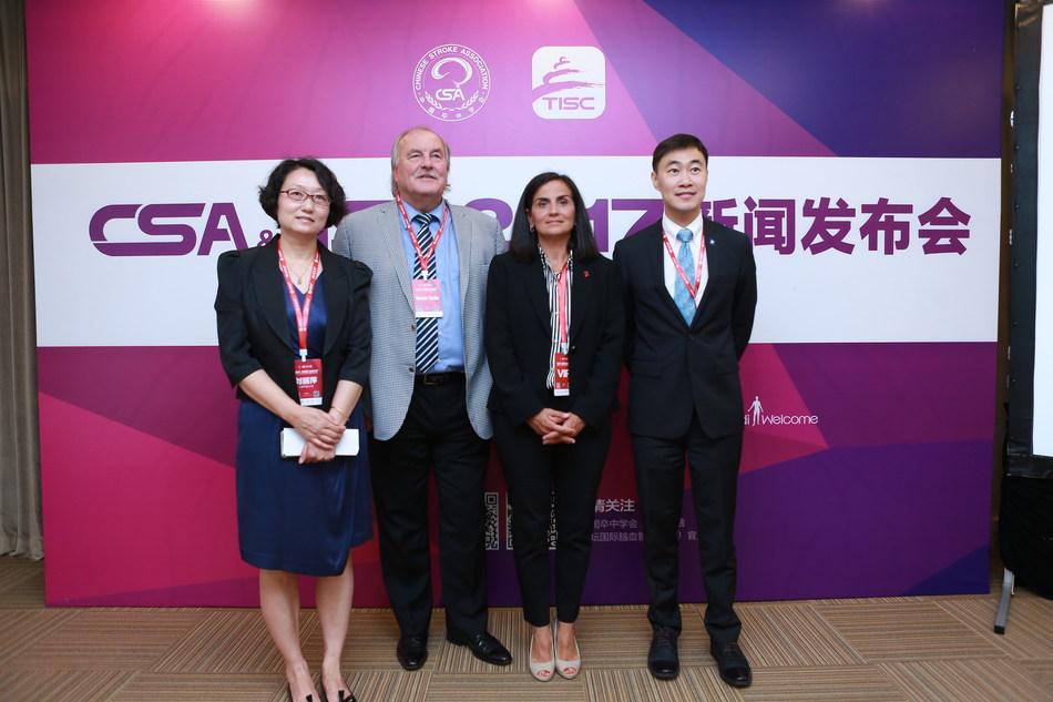 From Left to Right Professor Liping Liu (CSA), Professor Werner Hacke (WSO), Vice President Quality Improvement Michele Bolles (AHA/ASA), M.D., Ph.D,  Ying Xian (AHA/ASA)