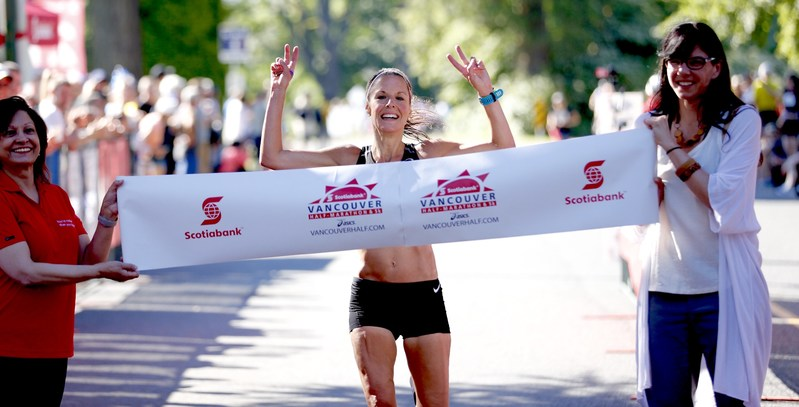 Lyndsay Tessier of Toronto, Ontario, is the first female finisher at the Scotiabank Vancouver Half-Marathon with a time of 01:17:00. Photo by Inge Johnson of Canada Running Series. (CNW Group/Scotiabank)