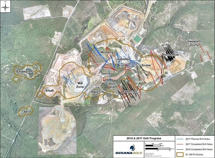 Figure 1 – Plan View of Palomino and Snake Drilling, Haile Gold Mine (CNW Group/OceanaGold Corporation)