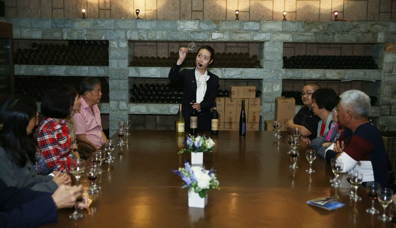 Wine taster introduces knowledge to tourists at Yantai Changyu International Wine Culture Museum on June 7.