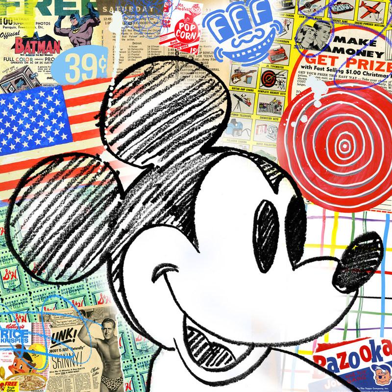 """Made in America"" 32""x32"" Mixed Media on wood, Nelson De La Nuez King of Pop Art"