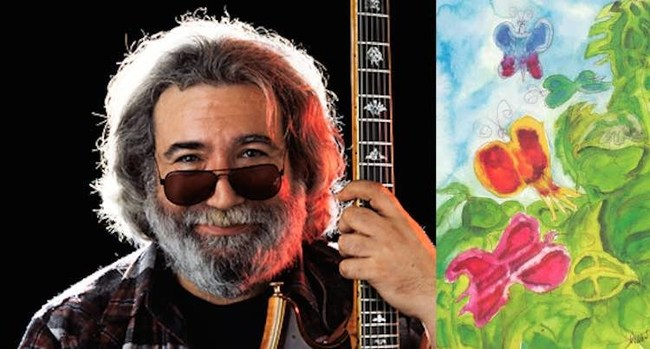 Jerry Garcia and Butterfly Study Watercolor