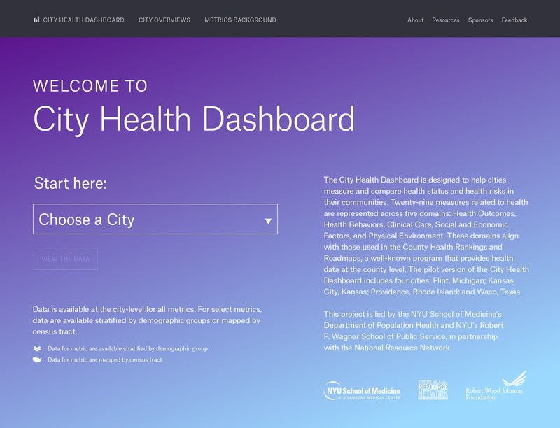 The City Health Dashboard has been piloted in four cities and is available at cityhealthdashboard.com.