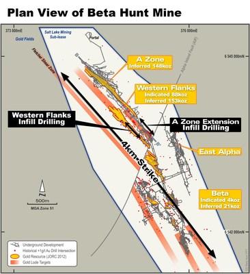 Figure 1 : Vue en plan de la mine Beta Hunt montrant l'emplacement des récents résultats de forage intercalaire. (Groupe CNW/RNC Minerals)