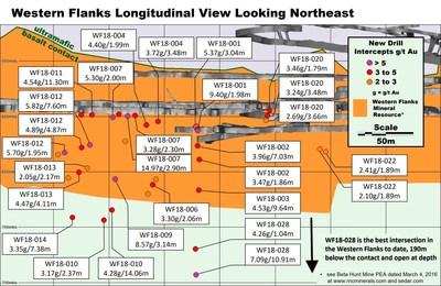 Figure 3 : Section longitudinale de la zone Western Flanks vers le nord-est, montrant les nouveaux résultats de forage significatifs. Épaisseurs réelles estimatives indiquées. (Groupe CNW/RNC Minerals)