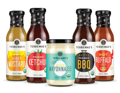 Tessemae's condiment line up includes organic ketchup, BBQ sauce, honey mustard, mayo, and hot buffalo sauce.