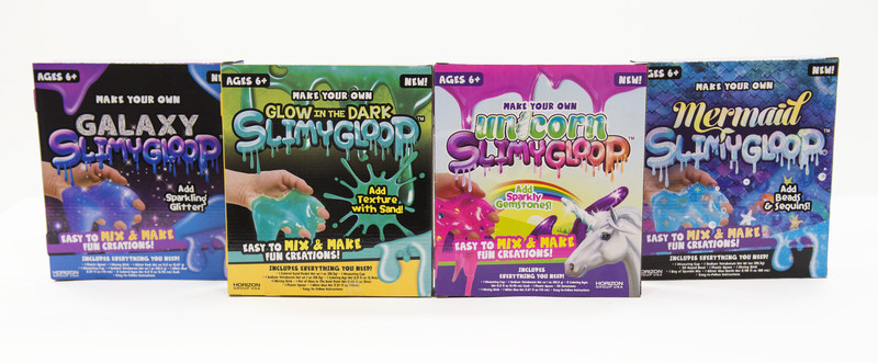 Horizon Group USA launched the SLIMYGLOOP brand, consisting of kits complete with all of the ingredients and embellishments needed to recreate the themed slimes seen online, using one all-inclusive kit. From the mystical unicorn to the legendary mermaid, the kits in the SLIMYGLOOP line are inspired by the most popular themed slimes on social media.