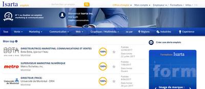 L'intelligence artificielle au service de la recherche d'emploi sur Isarta (Groupe CNW/Isarta Inc.)