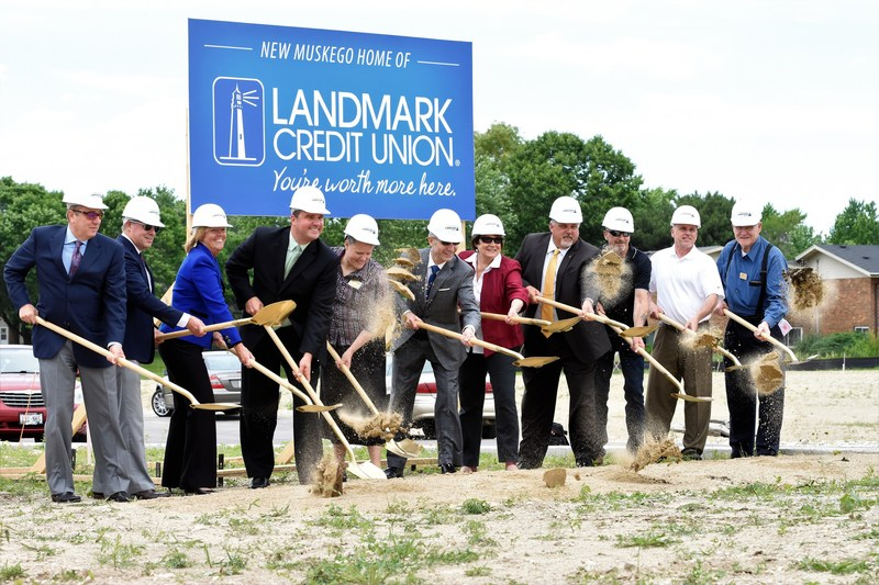 Landmark Credit Union celebrates the groundbreaking for their new branch in Muskego, Wisconsin, June 21.