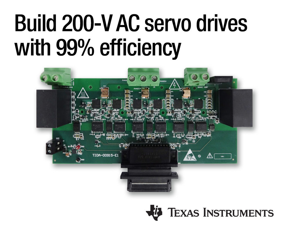 Three-phase, gallium nitride (GaN)-based inverter reference design helps engineers design 200-V, 2-kW AC servo motor drives and next-generation industrial robotics with fast, more precise torque control and 99 percent efficiency.