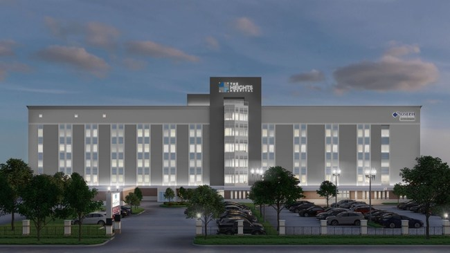 Nighttime view - The Heights Hospital rendering.