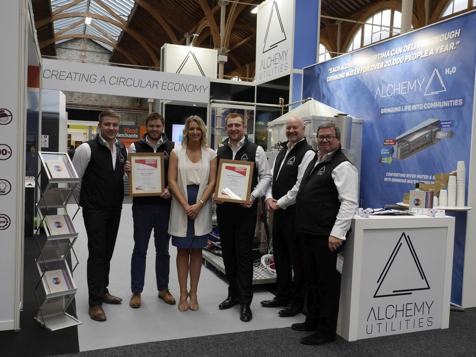 The Alchemy Utilities Team on their stand at The 2017 Energy Show in Dublin, Ireland. The show was host by Sustainability Energy Authority of Ireland (SEAI).  Alchemy Utilities won two SEAI awards; the most critical being Product of The Future for Alchemy TD. (PRNewsfoto/Alchemy Utilities Ltd)