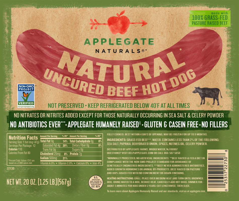 Non-GMO Project Verified Applegate Naturals Uncured Beef Hot Dog
