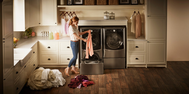 LG was the first home appliance brand to bring a solution to the marketplace with the LG TWINWash™, which combines two washers in one system – a traditional front load washer and LG SideKick™ mini top-load washer in the pedestal – so users can wash two loads at the same time or independently, saving them time and banishing the days of unnecessary overloading.