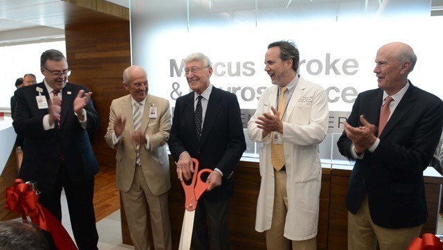 (l-r) Grady Health System CEO John Haupert, Grady Health Foundation Board Chair Pete Correll, Bernie Marcus, Marcus Stroke and Neuroscience Center Director Dr. Michael Frankel, and Grady Memorial Hospital Corporation Board Chair Frank Blake celebrate the opening of the Marcus Stroke and Neuroscience Outpatient Center.