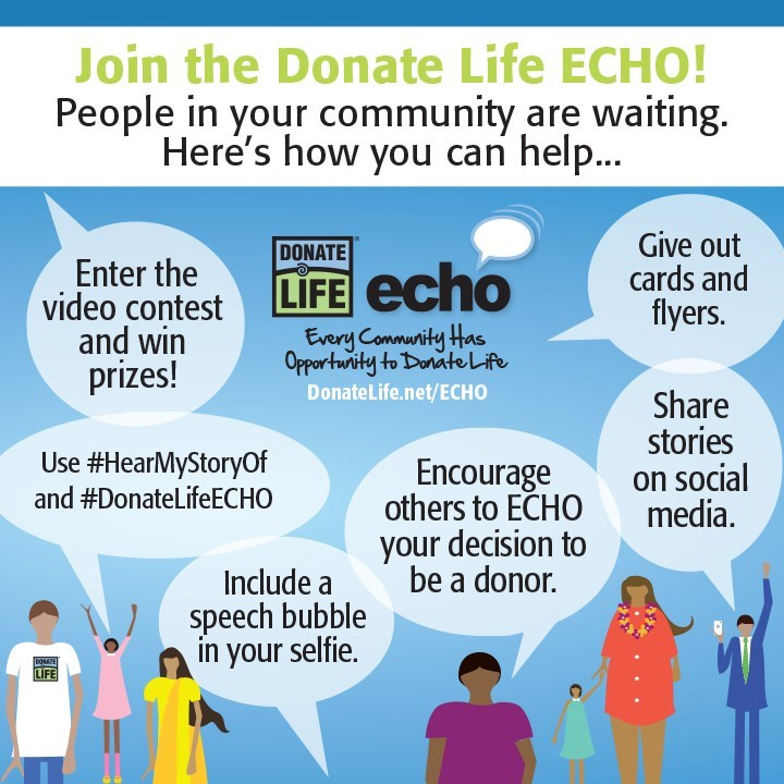 Join the #DonateLifeECHO, July 9-22! #HearMyStoryOf