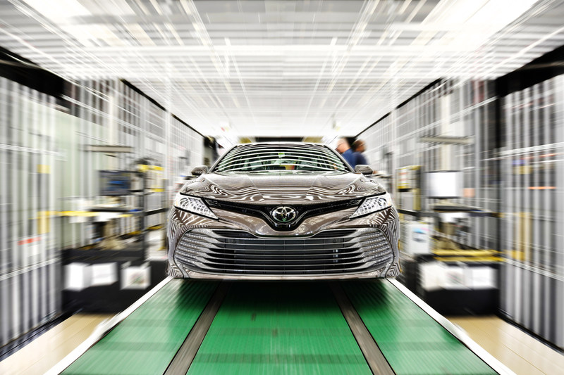 One of the first 2018 Toyota Camry vehicles produced at Toyota Motor Manufacturing, Kentucky, Inc., (TMMK) rolls off the production line in June 2018. The new Camry will be available in five grades: L, LE, XLE, SE and XSE. Vehicles will begin arriving at dealers in late summer.