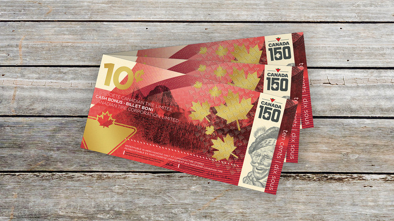 Canadian Tire's limited edition 10-cent bill to celebrate Canada 150 available in stores nation-wide from June 30 to July 2 while supplies last. (CNW Group/CANADIAN TIRE CORPORATION, LIMITED)