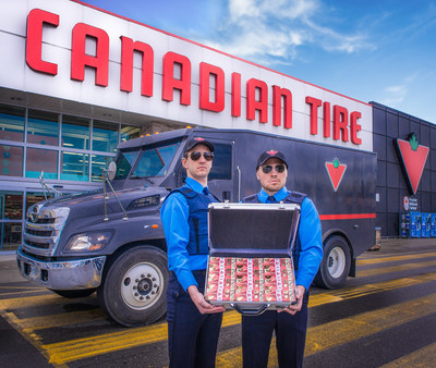 The first Canada 150 limited edition 10-cent bill is delivered by armored truck to Canadian Tire. Two million bills will be minted and available in stores nation-wide from June 30 to July 2 while supplies last. (CNW Group/CANADIAN TIRE CORPORATION, LIMITED)