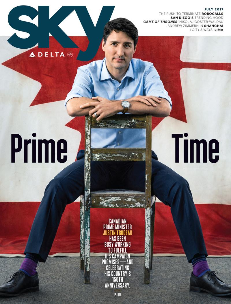 Delta offre des tarifs aériens réduits pour le 150e anniversaire du Canada; le premier ministre Trudeau en page couverture de l'édition de juillet de Sky Magazine
