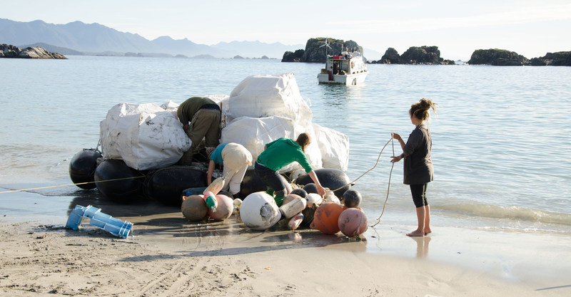 Ocean plastic being collected on the shorelines of Vancouver Island, Canada, by Ocean Legacy Foundation for the Lush Cosmetics recycling project. (CNW Group/Canada Fibers Ltd.)