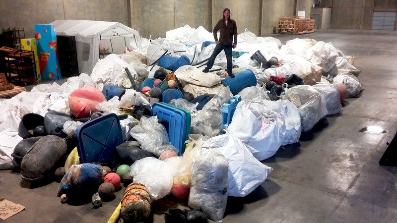 Over 25 tonnes of plastic marine litter collected by the Ocean Legacy Foundation. Lush Cosmetics shipped plastics to Urban Resource Group in Toronto for recycling. (CNW Group/Canada Fibers Ltd.)