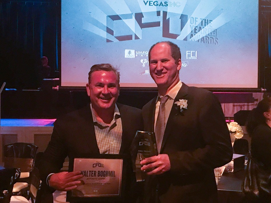 Affinity Gaming CEO Michael Silberling and Affinity Gaming CFO Walter Bogumil. Bogumil was honored as the Financial Executive of the Year in the Gaming/Hospitality Industry.