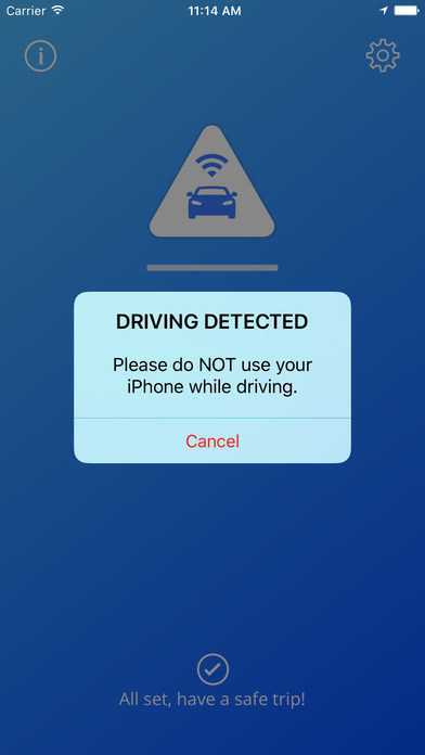 App advises the driver not to use their iPhone when driving is detected