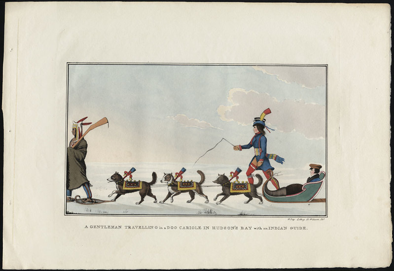 A Gentleman Travelling in a Dog Cariole in Hudson's Bay with an Indian Guide, By Peter Rindisbacher, lithograph, 1825, Library and Archives Canada, e002291419 (CNW Group/Library and Archives Canada)