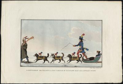 Gentleman voyageant avec un guide indien dans un traîneau tiré par des chiens sur la baie d'Hudson, Peter Rindisbacher, lithographie, 1825, Bibliothèque et Archives Canada, e002291419 (Groupe CNW/Bibliothèque et  Archives Canada)