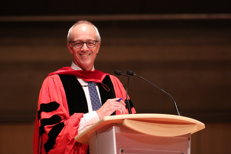 The Honourable George R. Strathy, Chief Justice of Ontario, addresses the new calls upon receiving an honorary LLD from the Law Society of Upper Canada at its afternoon Call to the Bar Ceremony in Toronto on June 27 at Roy Thomson Hall. Chief Justice Strathy received the LLD in recognition of his esteemed career which exemplifies a dedication to the law, the profession and public service. The Law Society awards honorary doctorates to distinguished people in recognition of outstanding achievements in the legal profession, the rule of law or the cause of justice. Recipients serve as inspirational keynote speakers for the new lawyers attending the Call to the Bar ceremonies. (CNW Group/The Law Society of Upper Canada)
