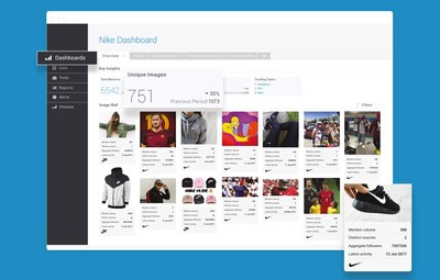 Sample brand dashboard in Brandwatch Image Insights logo detection platform.