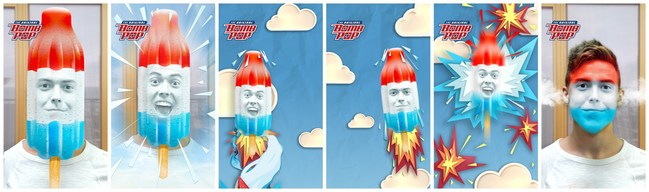 The fun and quirky Snapchat lens turns users' faces into red, white and blue Original Bomb Pop rockets.