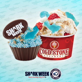 Cold Stone Creamery celebrates Shark Week with the Great White Bite™ Creation™ and Deep Sea Delight™ Ice Cream Cupcake, available for a limited time.