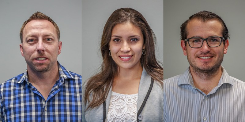 UbiQD VP of Business Development Steve Reinhard, Operations Manager Liseth Garay, and R&D Chemist Nicolai Archuleta have recently joined the company.