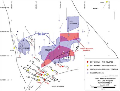 Figure 1.   Current Ayawilca drill hole map and 2016 Mineral Resource boundaries (hatched) (CNW Group/Tinka Resources Limited)